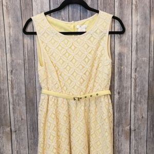 NWT Esley Yellow High Low Belted Dress Small